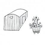 casita madera barrica jardinera