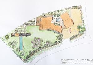 plano diseño jardín foixà